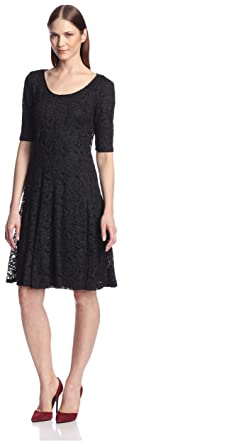 919d63fe Chetta B. Women's Glitter Lace Fit-and-Flare Dress: Amazon.in: Clothing &  Accessories