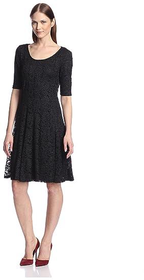 Amazon Chetta B Womens Glitter Lace Fit And Flare Dress Clothing