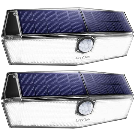 LITOM 200 LED Solar Lights Outdoor, 3 Optional Modes Wireless Motion Sensor Light with 270 Wide Angle, IP67 Waterproof, Easy-to-install Security Lights for Front Door, Yard, Garage, Deck, Porch-2Pack