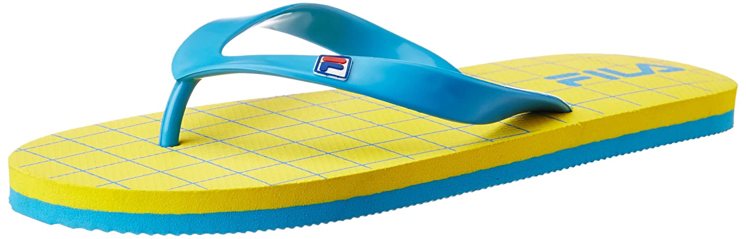 d1650274395dc3 Fila Men s Cross Flip Yellow and Blue Flip Flops Thong Sandals -11 UK India  (45 EU)  Buy Online at Low Prices in India - Amazon.in