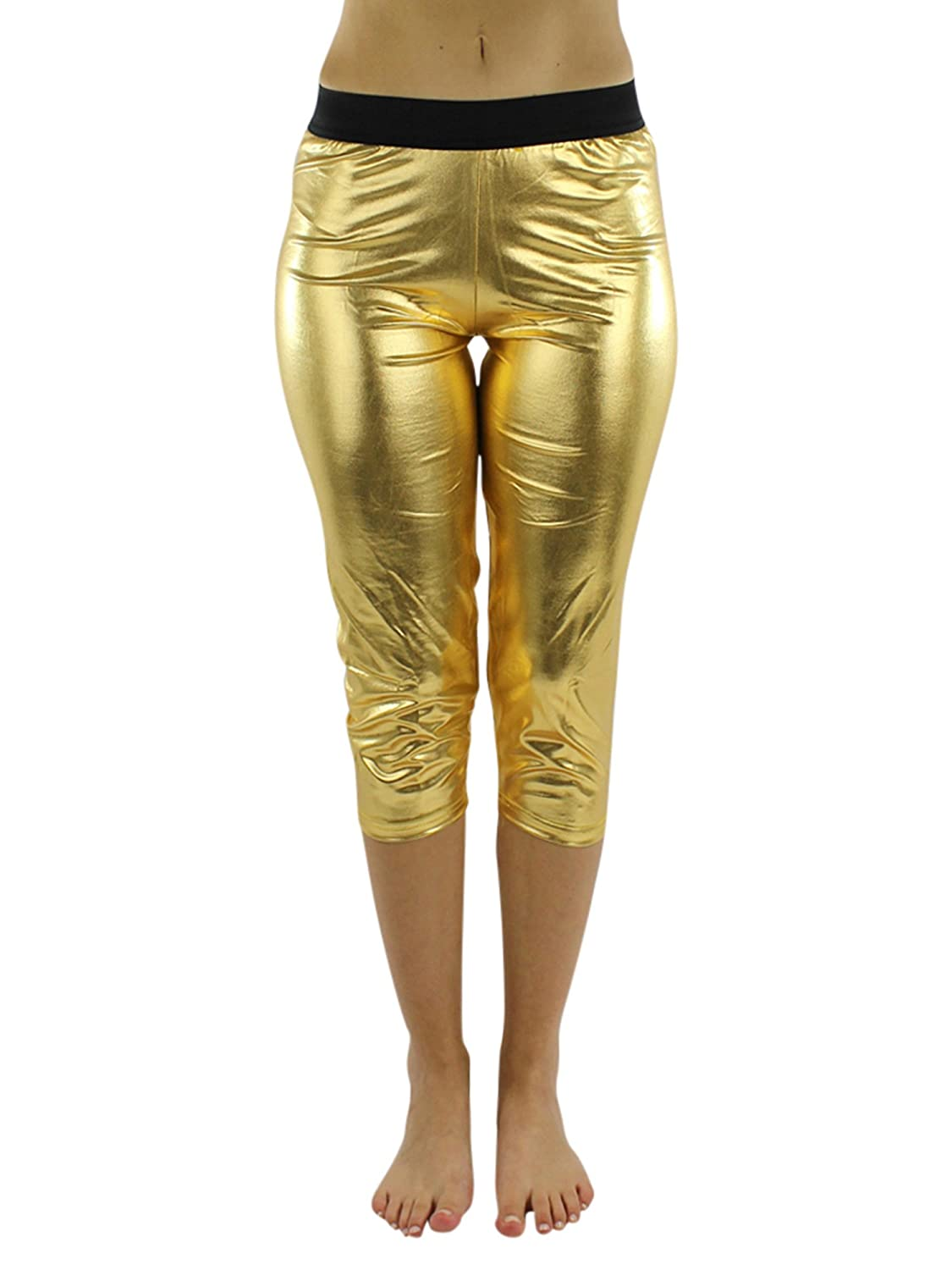 7c1fa4c5acccd Gold Metallic Foil Capri Style Stretchy Leggings at Amazon Women's Clothing  store: Tights