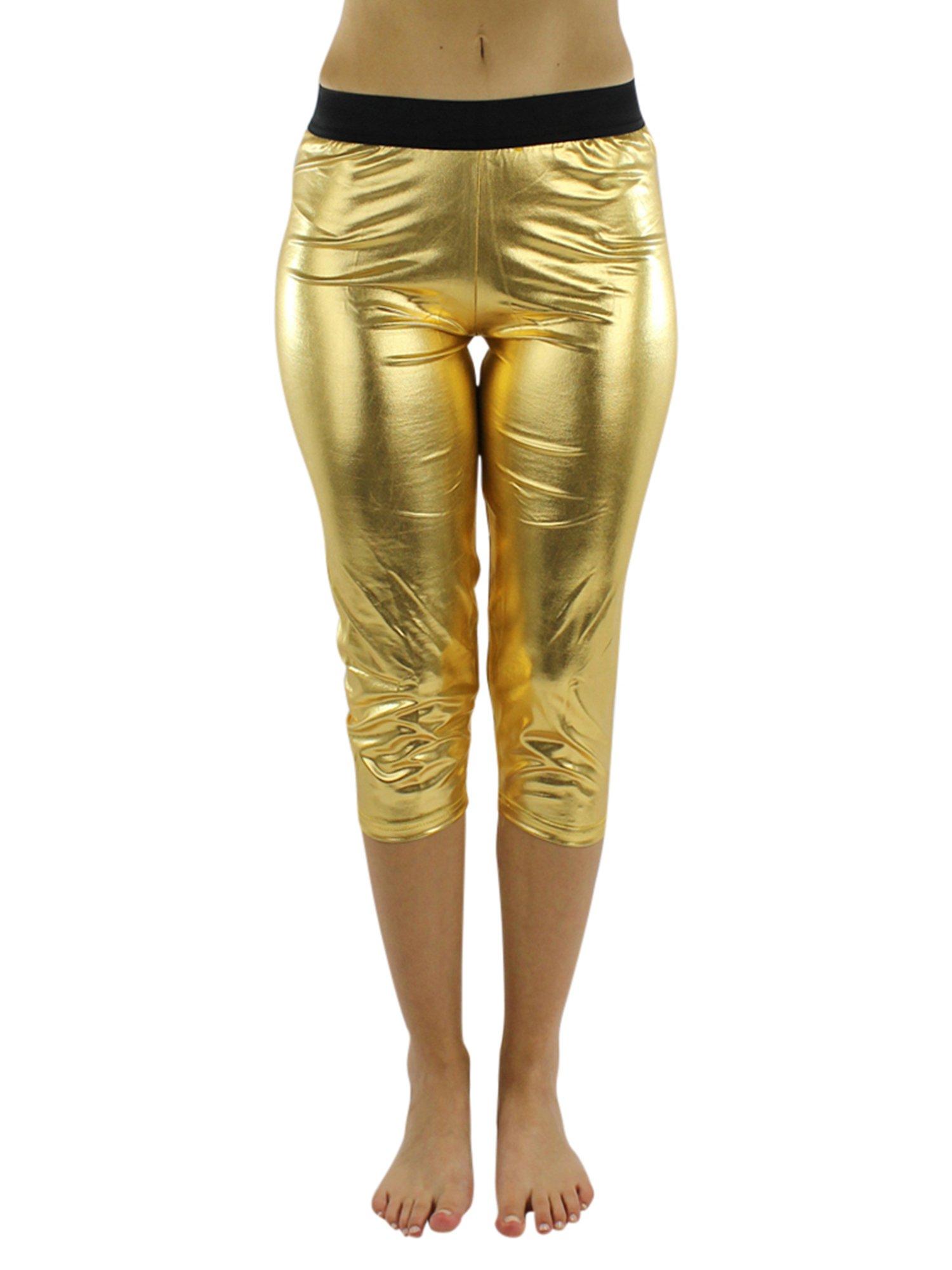 Gold Metallic Foil Capri Style Stretchy Leggings