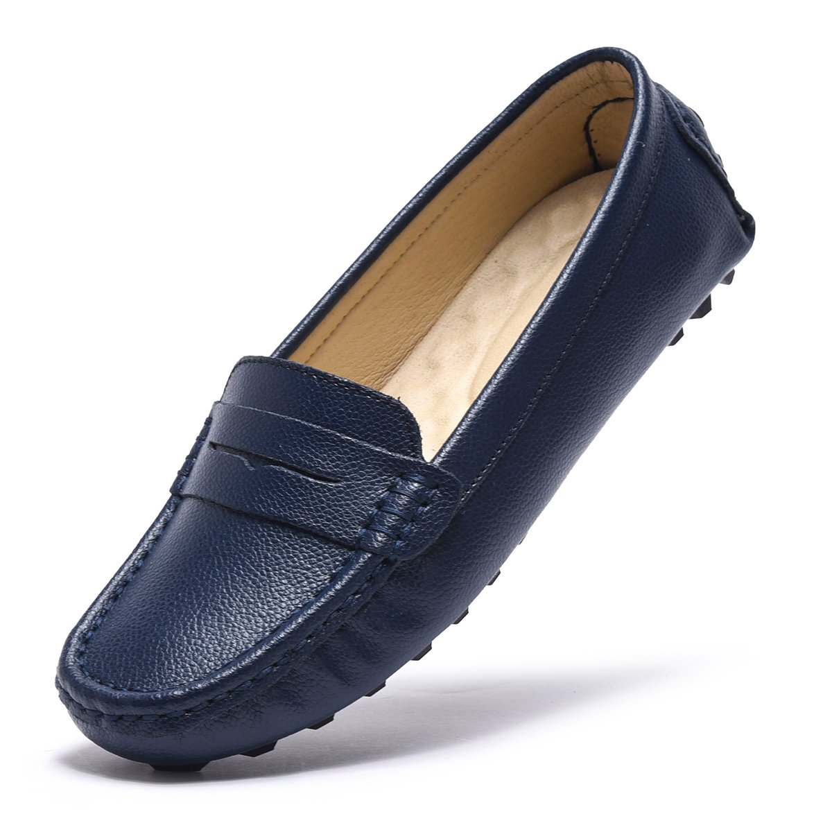 ARTISURE Women's Girls' Classic Handsewn Blue Genuine Leather Penny Loafers Driving Moccasins Casual Boat Shoes Slip On Fashion Office Comfort Flats 9 M US SKS-1221LAN90