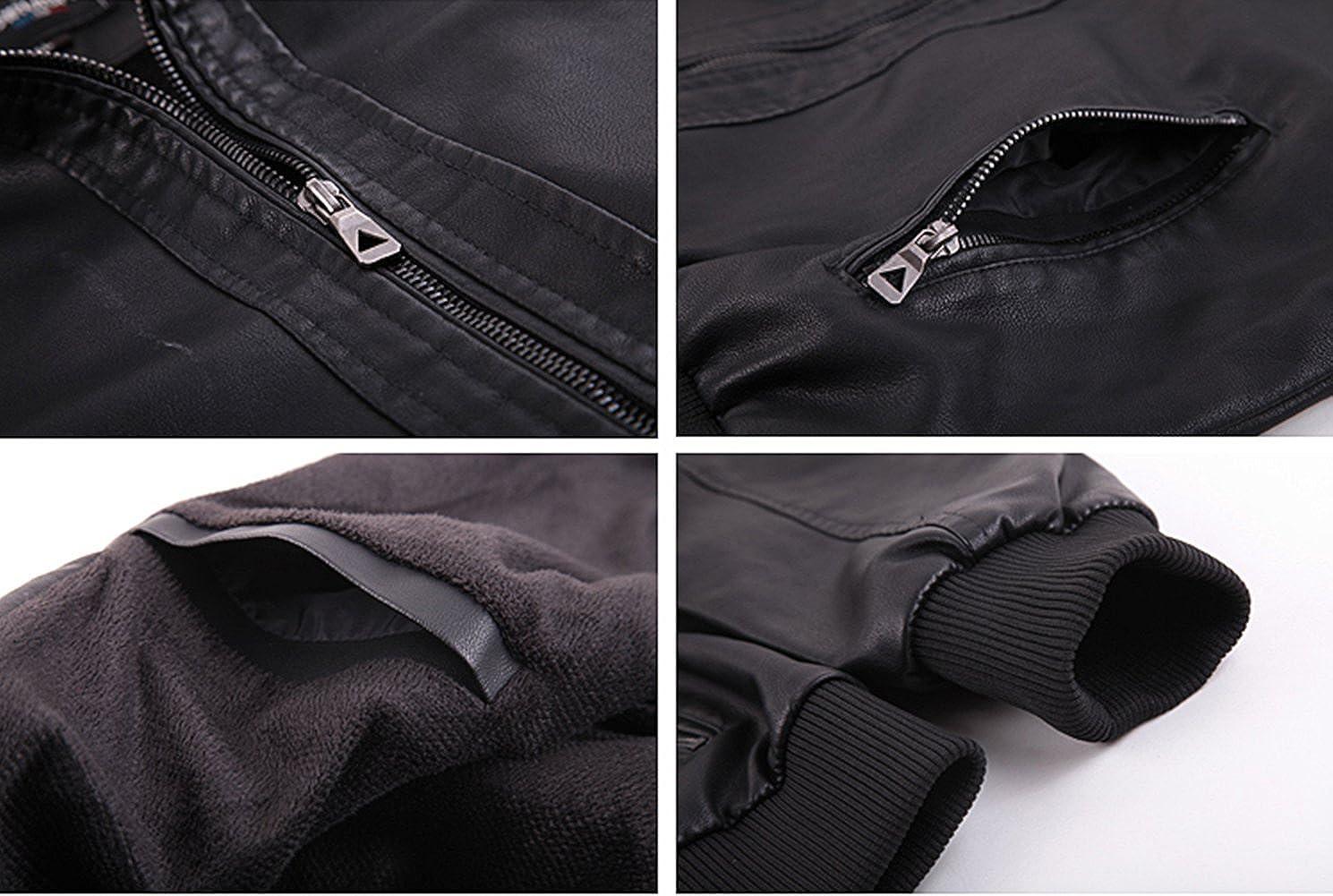 Jinmen Mens Pu Leather Middle Washed Trench Coat Plus Velvet Jacket
