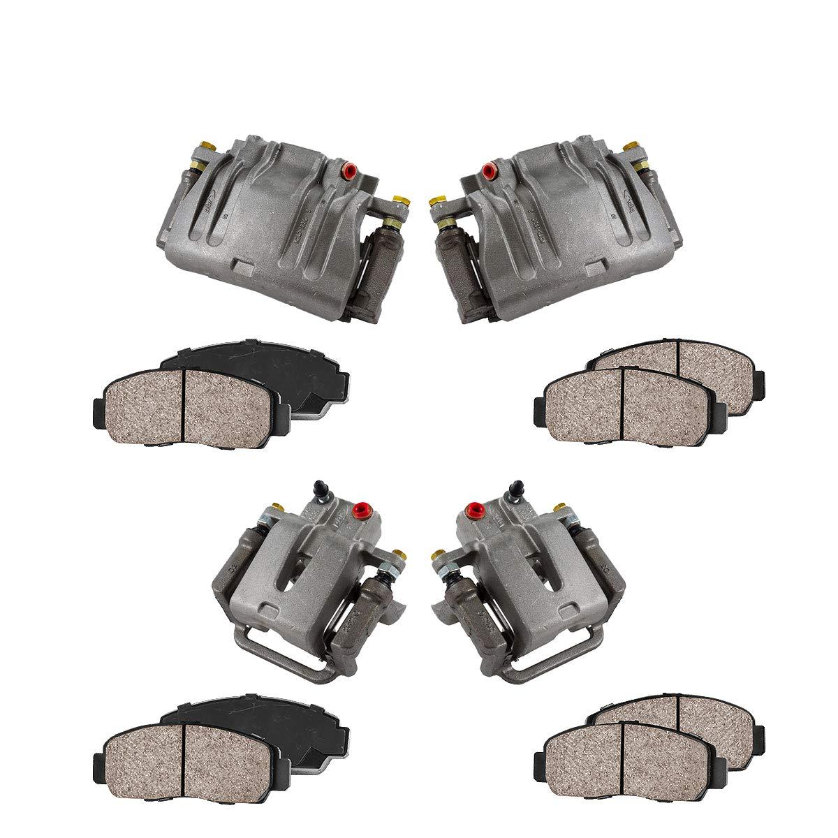 FRONT + REAR [ 4 ] Premium Grade Semi-Loaded OE Caliper + Ceramic Brake Pads Kit Callahan Brake Parts