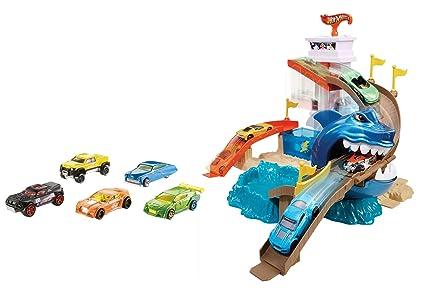 Hot Wheels Pista tiburón devorador, pista de coches de juguete (Mattel BGK04)
