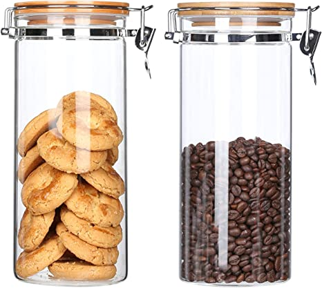 GLASS AIRTIGHT BOTTLE WITH WOOD LID COFFEE BEANS GRAINS FOOD JAR CONTAINER