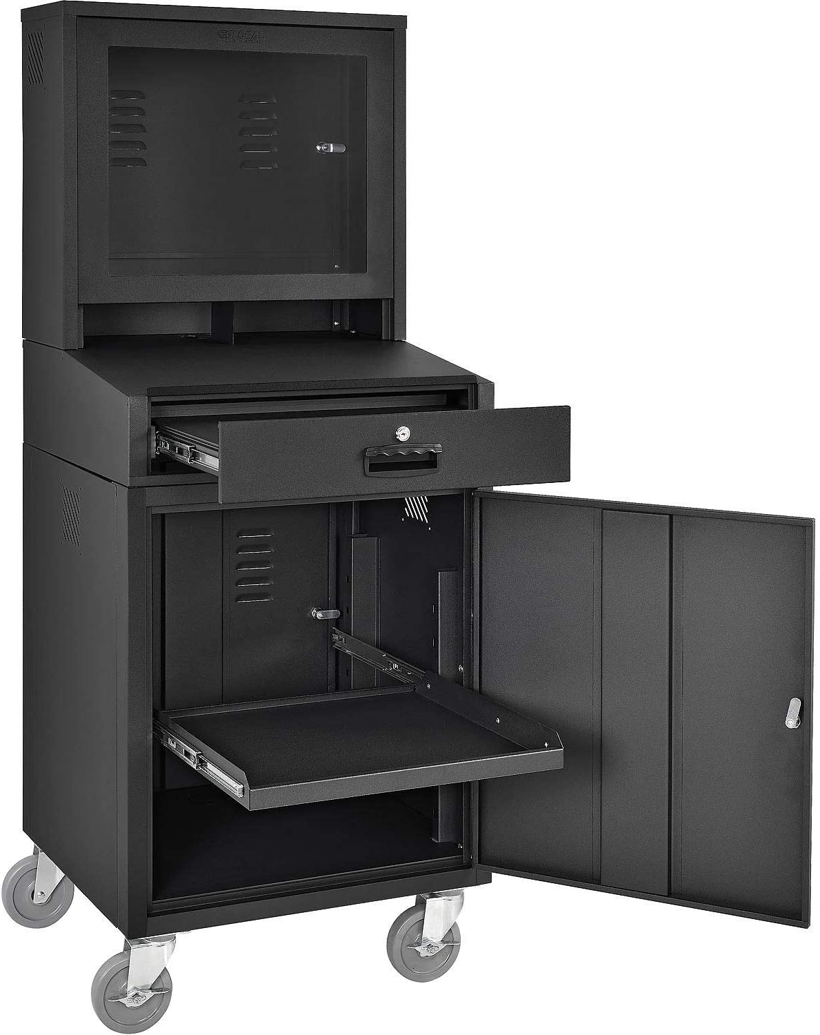"""Mobile Security LCD Computer Cabinet Enclosure, Black, 24-1/2""""W x 22-1/2""""D x 62-3/4""""H"""