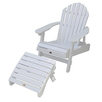 Highwood Hamilton Folding U0026 Reclining Adirondack Chair With Folding  Adirondack Ottoman, White