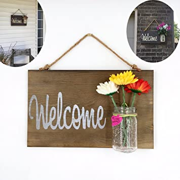 Yonor Rustic Wood Welcome Sign For Front Door, Hand Painted Home Decor Welcome  Signs,