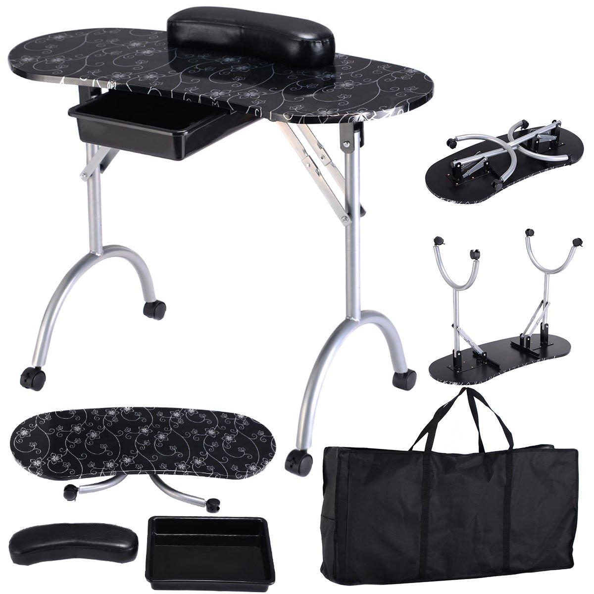 Amazon.com: Black Manicure Nail Table Portable Station Desk Spa ...