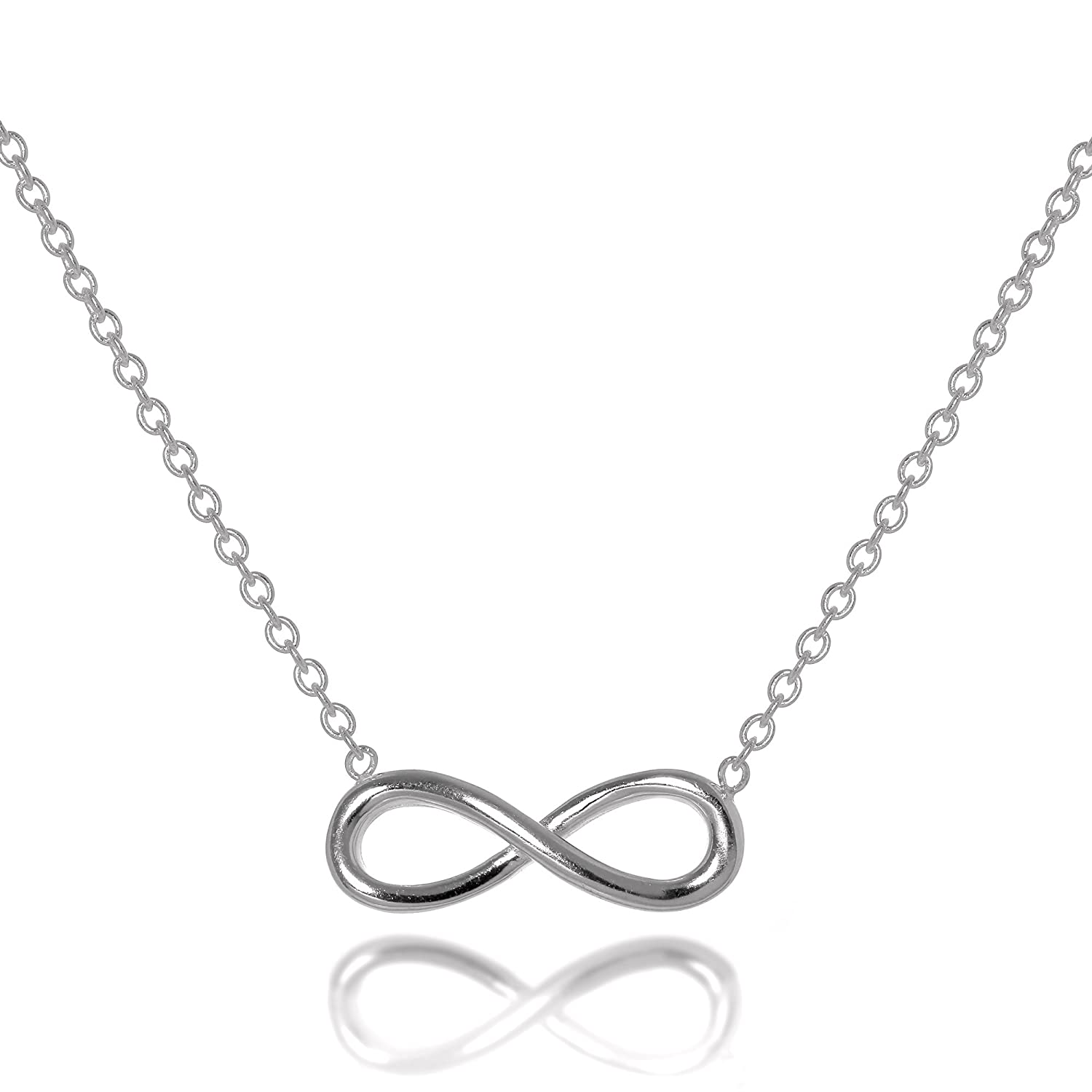 1c1c3fe039da1 Sterling Silver Infinity Necklace 16-18 Inch Chain  Amazon.co.uk  Jewellery