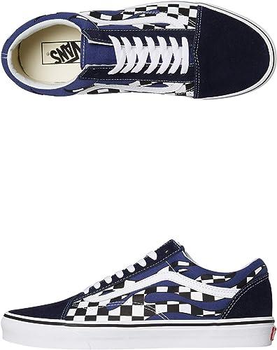 Vans Old Skool Checker Flame Navy Blue White Skateboarding
