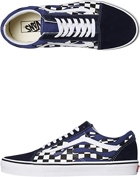 Vans Old Skool Checker Flame Navy Blue White Skateboardschuhe