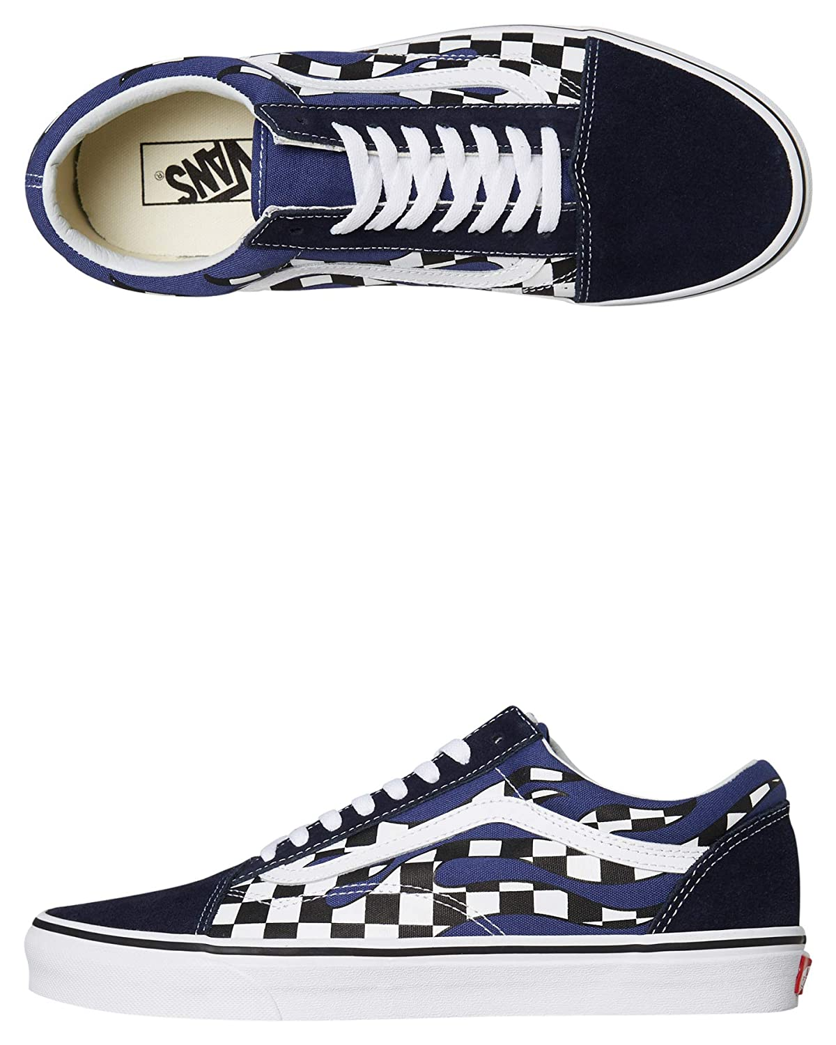 Shoes Old Skateboarding Vans Flame Navy Checker Skool White Blue XuOPkZi