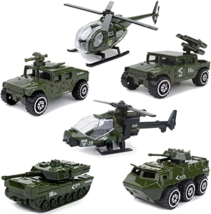 6PCS Military Vehicle Helicopter Tank Diecast Car Model Toy Vehicle Gift Kids