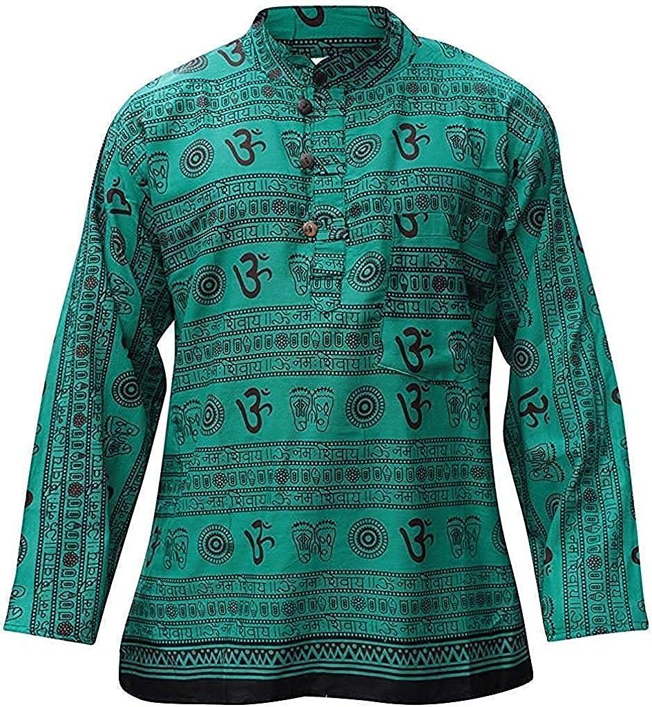 Shopoholic Fashion Camisa para hombre con cuello mao, diseño hippie