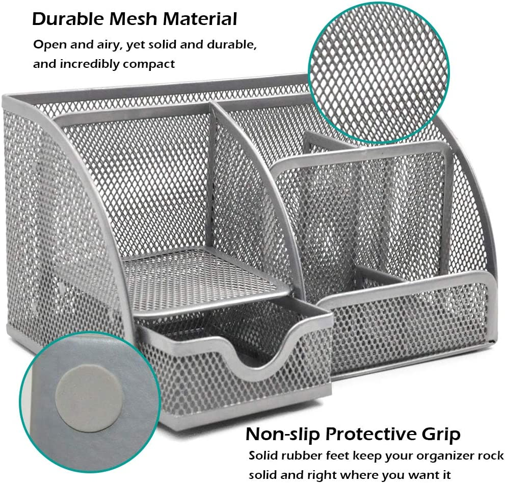 Silver GDinDinFan Mesh Desk Organizer Pen Holder Accessories Storage Caddy with 6 Compartments and Drawer