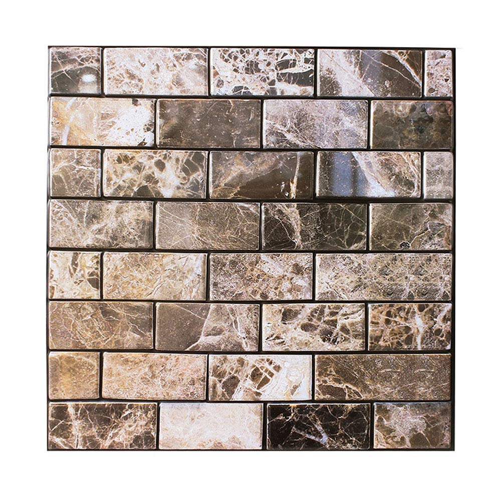 Amazon Com 3d Square Marble Self Adhesive Indoor Backsplash