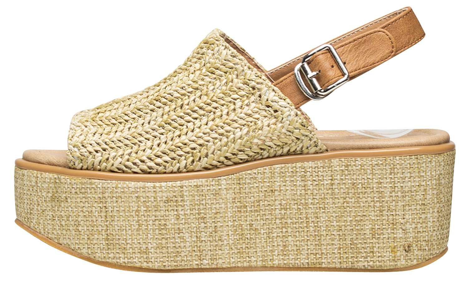 AnnaKastle Womens Natural Woven Chunky Platform Wedge Sandal Shoes B07BR85X5P 5.5 B(M) US|Beige