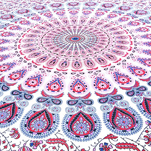 Eyes of India - Small Twin White Pink Indian Elephant Mandala Tapestry Hanging Picnic Bohemian Boho