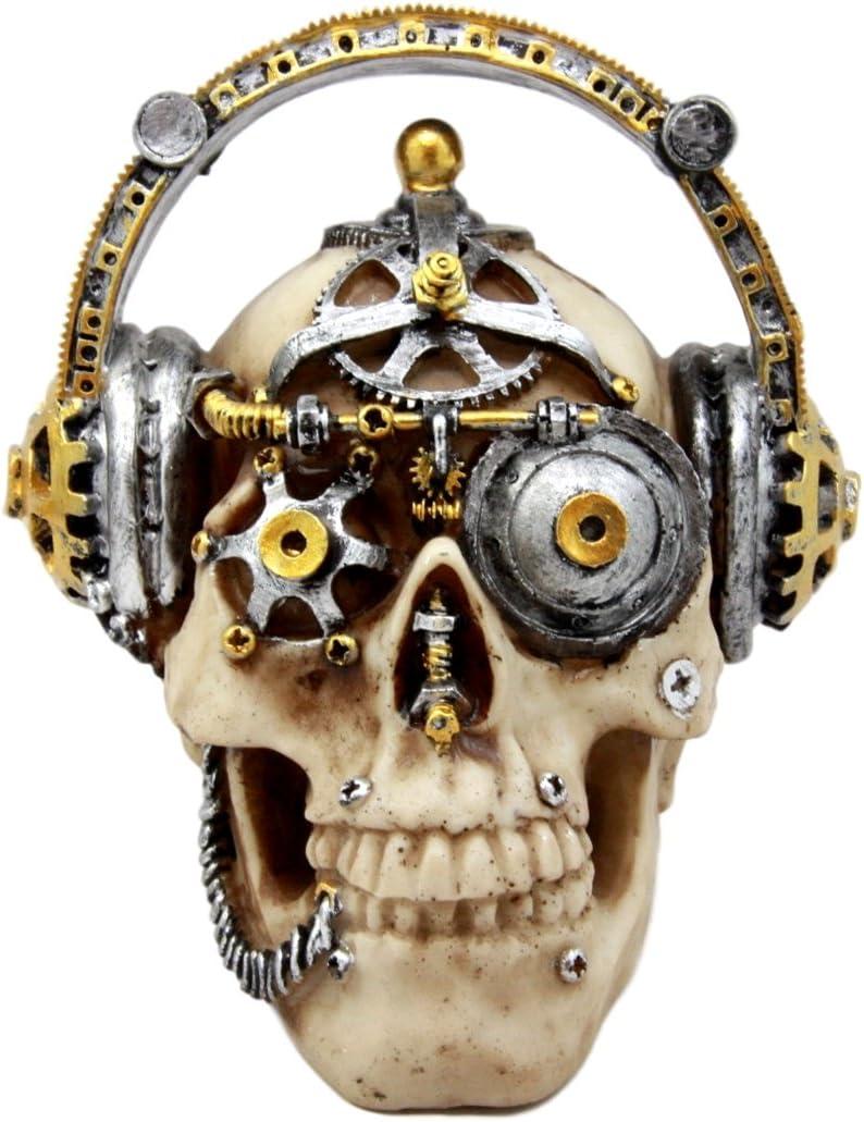 "Ebros Gift Steampunk Cyborg R&B Funk Music Fanatic with Headphone Beats Cans Set Skull Decorative Figurine 5.75"" L Victorian Sci Fi Skulls Skeletons Ossuary Macabre Decor"