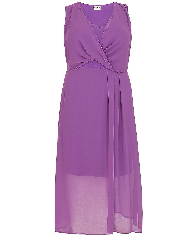 Ladies Plus Size Emily Purple Grecian Wrap Midi Dress: Amazon.co.uk ...