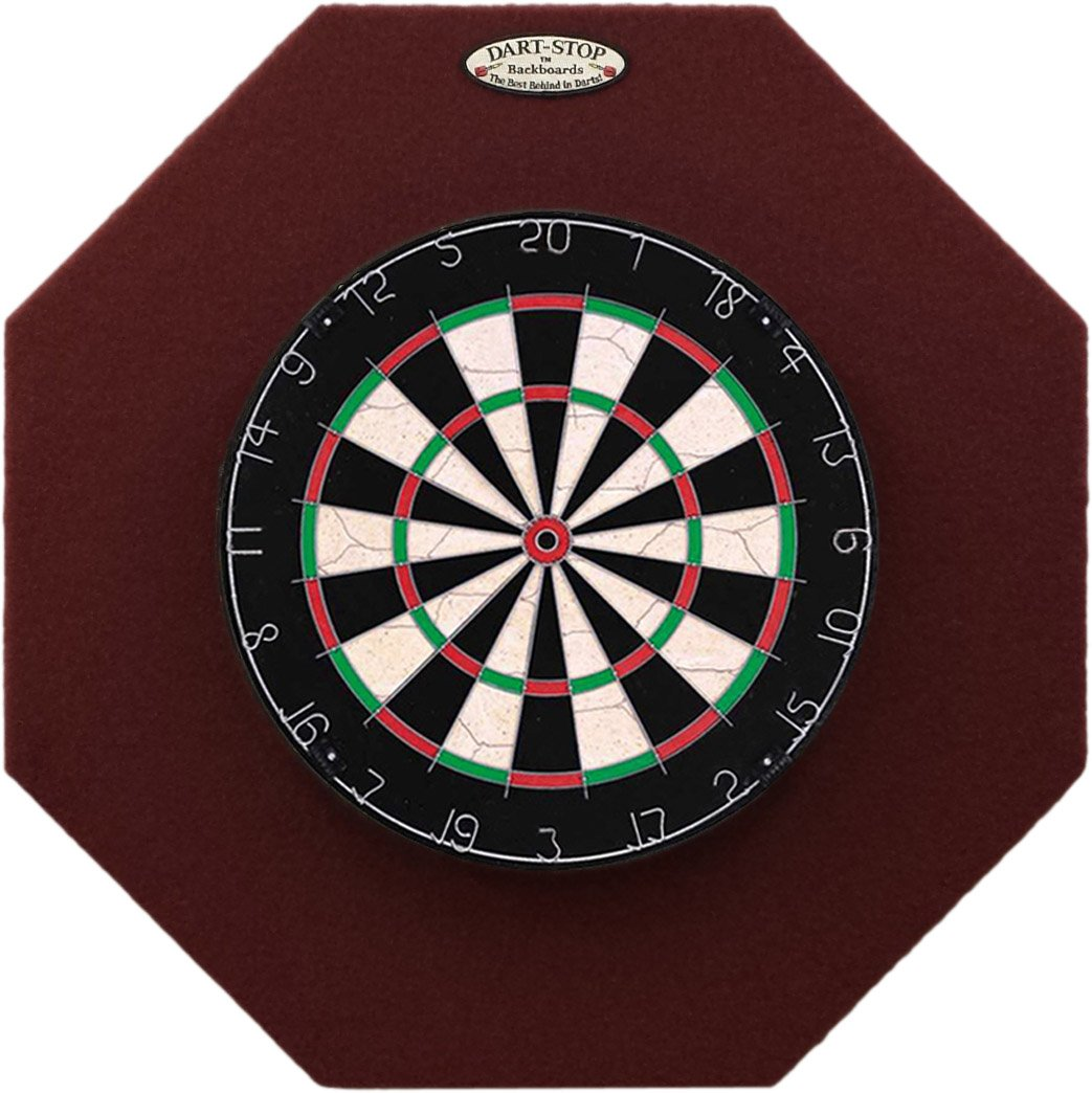 29'' Professional Dartboard Backboard, Octagonal (Burgundy) by Dart-Stop