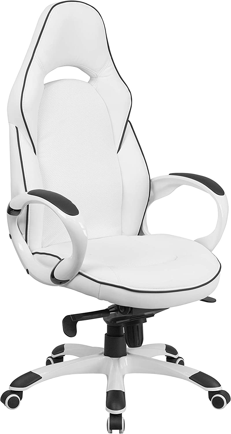 Flash Furniture High Back White Vinyl Executive Swivel Office Chair with  Black Trim and Arms