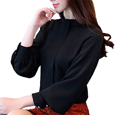 OUXIANGJU New Arriva Spring Womens Shirts Lady Solid Chiffon Long Sleeve Blouse