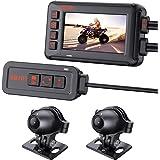 "Motorcycle Camera Real Waterproof, Blueskysea XB701 1080P Front Rear Dash Cam with 3"" IPS Screen WiFi GPS G-Sensor Loop Recor"