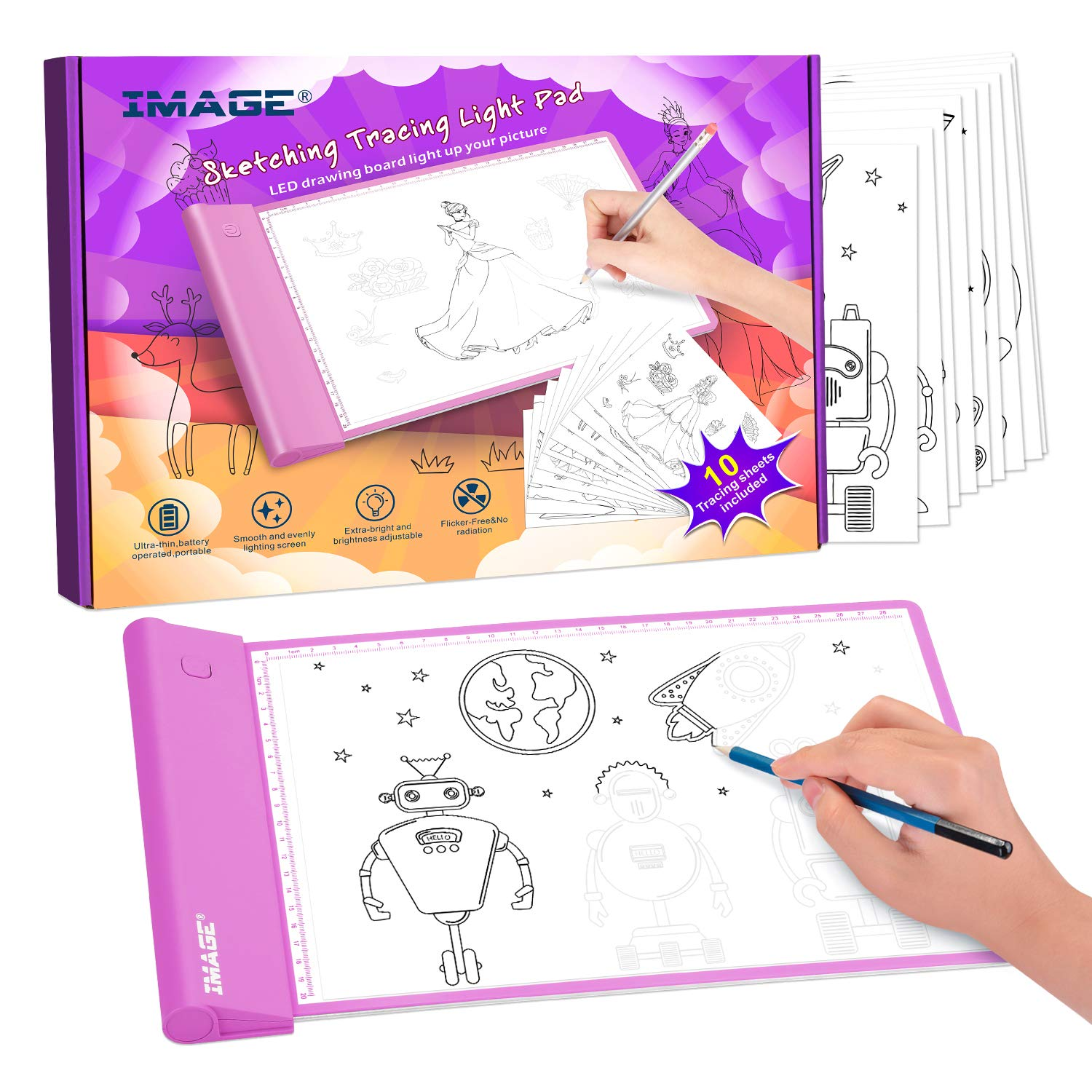 Image Light Up Tracing Pad Pink Drawing Tablet Coloring Board For Kids Children Toy Gift For Girls Boys Ages 6 7 8 9 10 Includes 10 Traceable Sheets