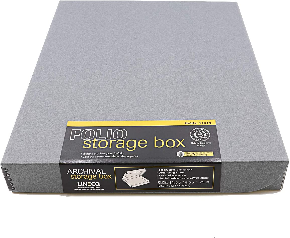 Lineco Archival Folio Storage Boxboard, Acid-Free with Metal Edges Boxboard, 11.5 X 14.5 X 1.75 Inches, Longevity Organize and Store Photos Documents Crafts Cards Magazines Prints DIY, Gray Exterior
