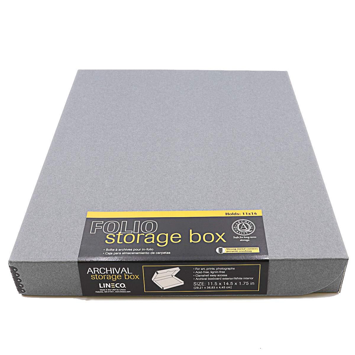Lineco Archival Folio Storage Boxboard, Acid-Free with Metal Edges, 11.5 X 14.5 X 1.75 inches, Gray (717-2114) by Lineco