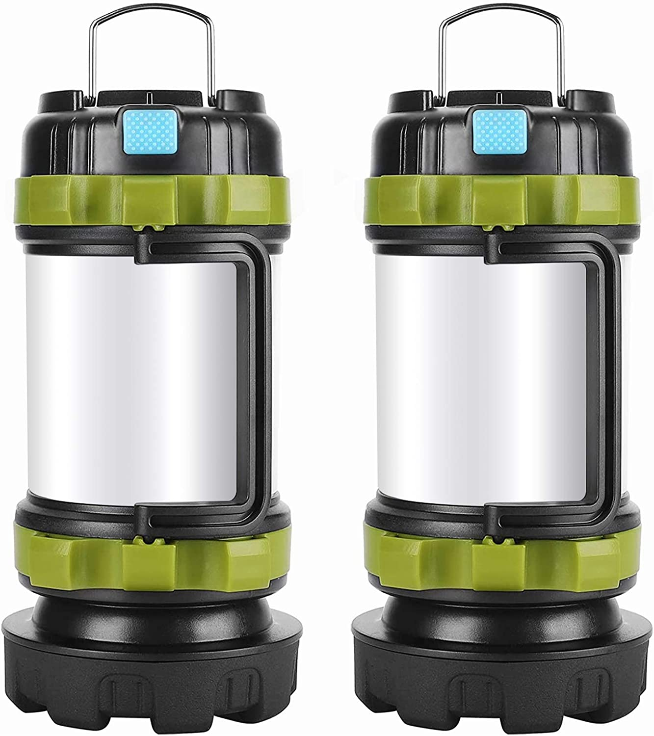 Camping Lantern Rechargeable , Alpswolf Camping Flashlight 4000mAh Power Bank,6 Modes, IPX4 Waterproof, Led Lantern Camping, Hiking, Outdoor Recreations, USB Charging Cable Included(2 Pack)