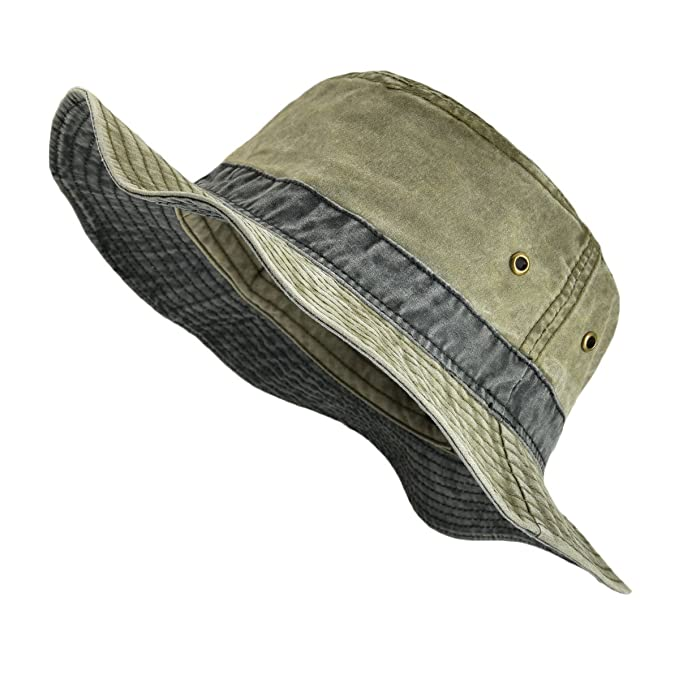 204284ca0 VOBOOM Men Washed Cotton Panama Bucket Hat Packable Summer Travel Fishing  Boonie Cap