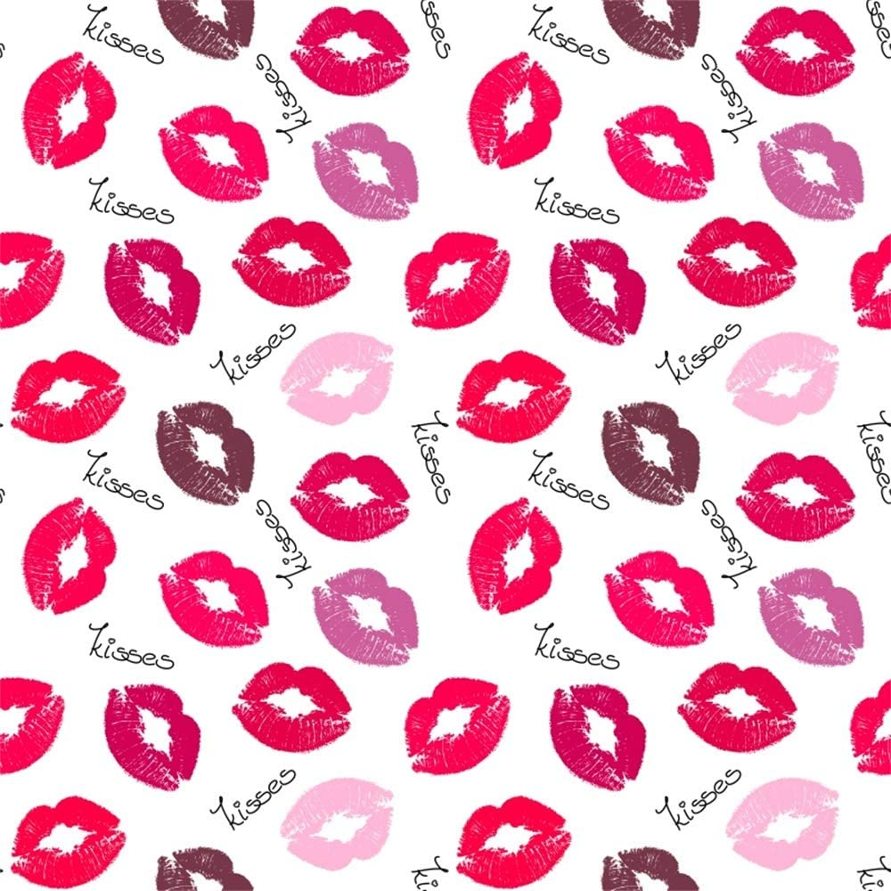 Kiss 8x10 FT Photo Backdrops,Heart Drawn in Lipstick and Woman Lip Imprint Romance Passion and Tenderness Message Background for Baby Shower Bridal Wedding Studio Photography Pictures Red White