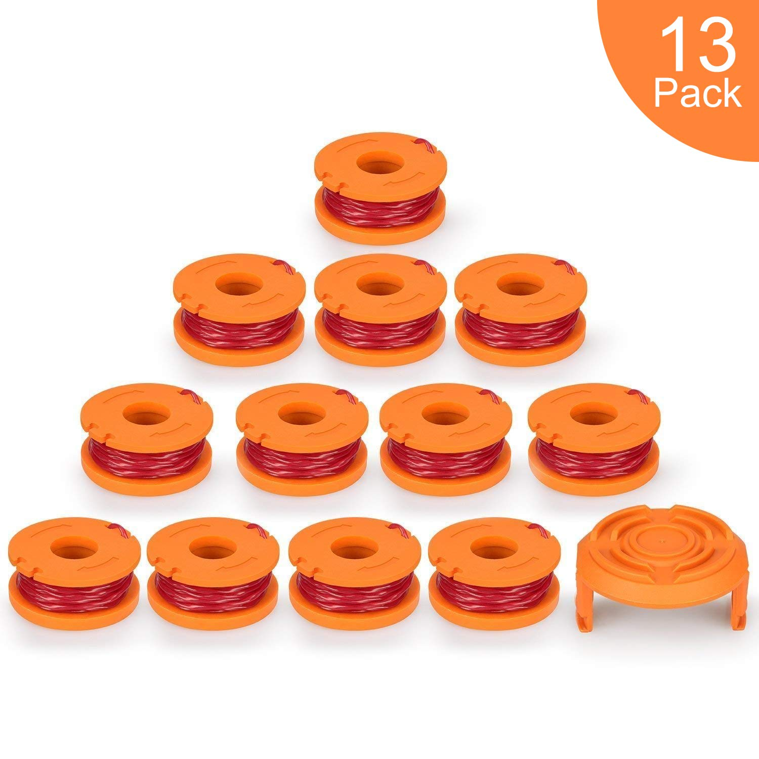 SUERW Line String Trimmer Replacement Spool, 10ft 0.065'' Replacement Autofeed Spool for Worx String Trimmer [12 Replacement Line Spool, 1 Trimmer Cap] (10 ft/Packs of 13) by SUERW