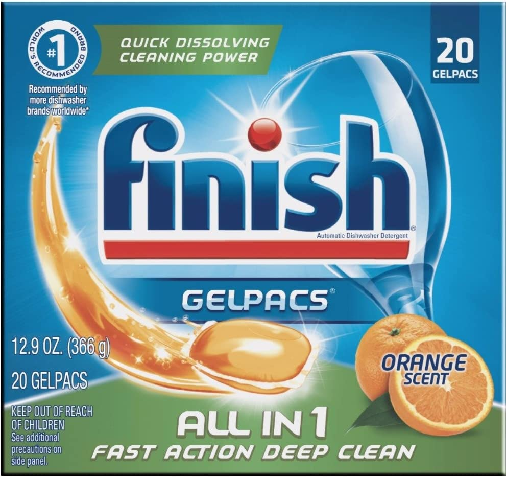 Finish All In 1 Gelpacs, Orange 20 Tabs, Dishwasher Detergent Tablets (Pack of 8)
