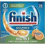 Finish Gelpacs All in 1 Orange Scent Dishwasher Detergent, 20 count per pack - 8 per case.