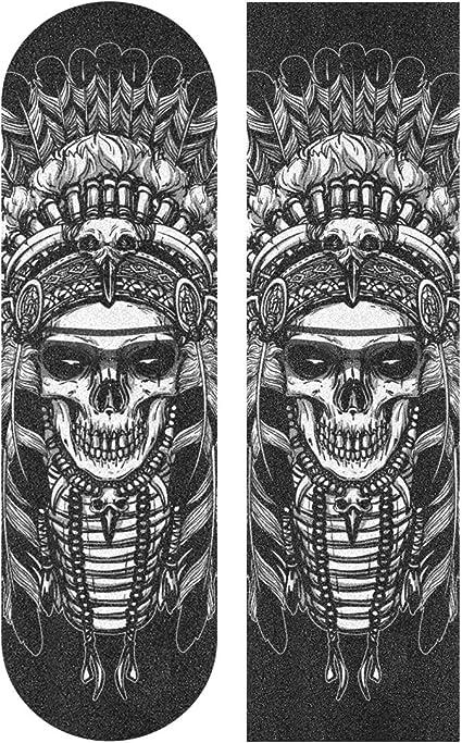 Skateboard Grip Tape Sheet 33 X 9 Inch Cool Green Skull Sandpaper for Rollerboard Longboard Griptape Bubble Free Scooter Grip Tape