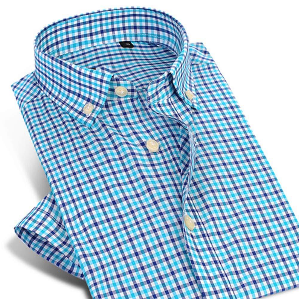XXL  YAYLMKNA Chemise Chemise Habillée Courte pour Hommes à voiturereaux Chemise Boutonnée Coupe Ajustée en Pur Coton