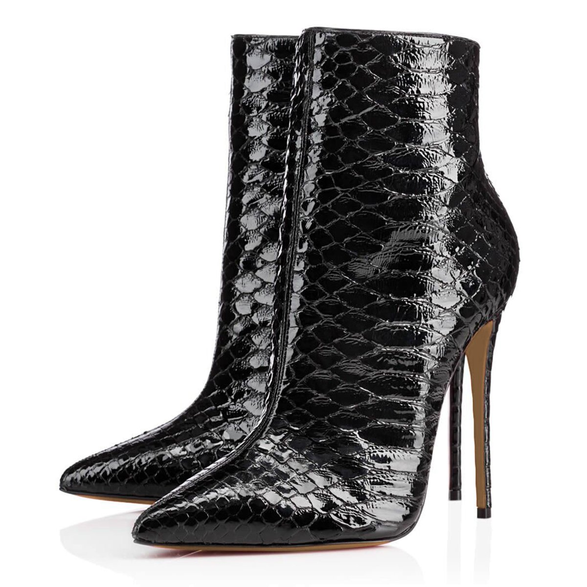FSJ Women Fashion High Heel Ankle Boots with Rivets Pointed Toe Stilettos Zipper Shoes Size 4-15 US