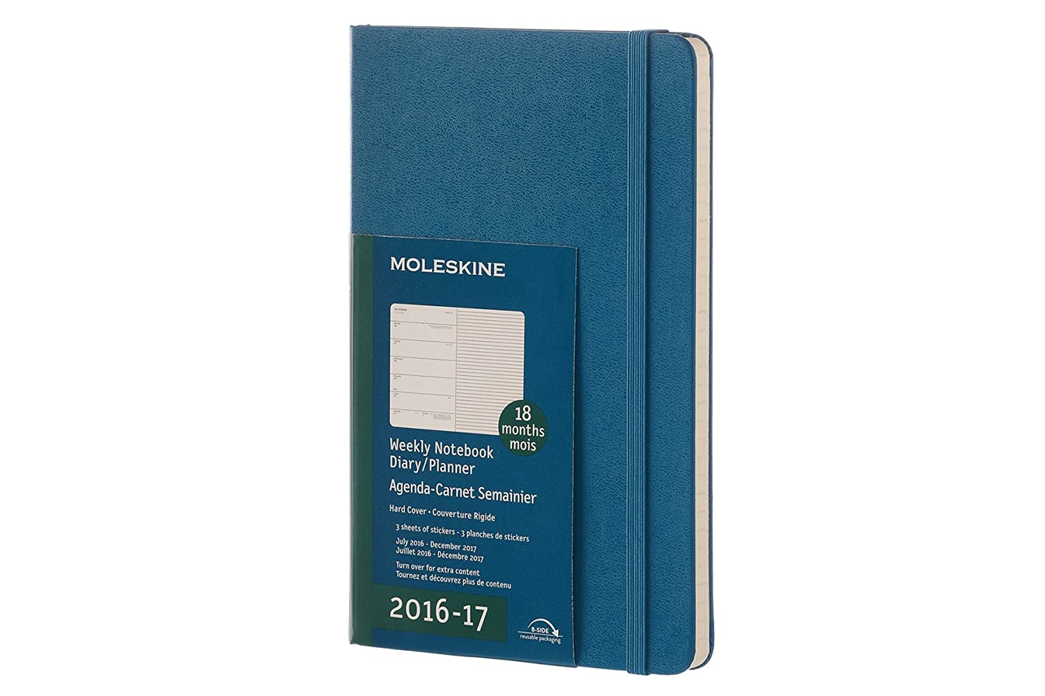 Moleskine 2016-2017 Weekly Notebook, 18M, Large, Steel Blue, Hard Cover (5 x 8.25)