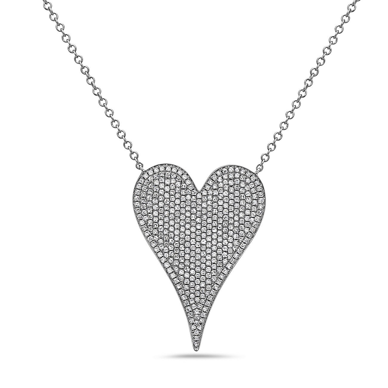 "14K White Gold Pave Diamond Heart Shaped Necklace | Timeless 14K Heart Slider Pendant w/ Pave set Diamonds | Diamond Weight 0.83 ct tw Color G/H Clarity-SI1 | Adj. 15 -18"" By Crush + Fancy (0.83)"