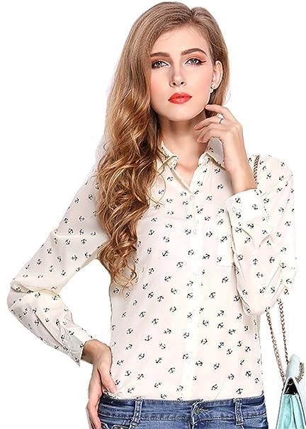 Fashion Manga Larga Bolsillos Botones Abotonada Abotonado Delantera Anchor Impresión Patrón Chifón Blouse Blusón Blusa Shirt