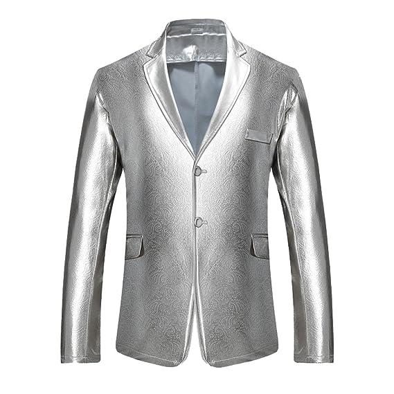 Chaqueta de Traje de Hombre Solapa Abrigo Blazer Elegante Americanas Plateado XL: Amazon.es: Ropa y accesorios