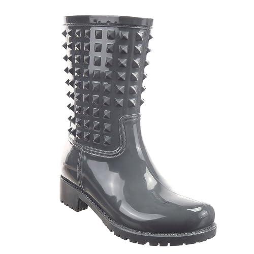 Sopily - Zapatillas de Moda Botines Botas de guma de lluvia Cavalier Media pierna mujer Talón