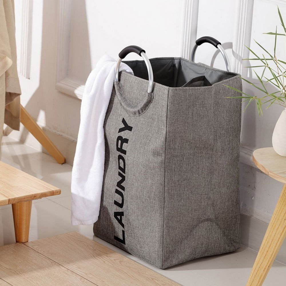 Laundry Bag with Handles Heavy Duty Collapsible College Laundry Bags Large Fordable Laundry Basket for College, Camping (Grey) Fanatical Purchase