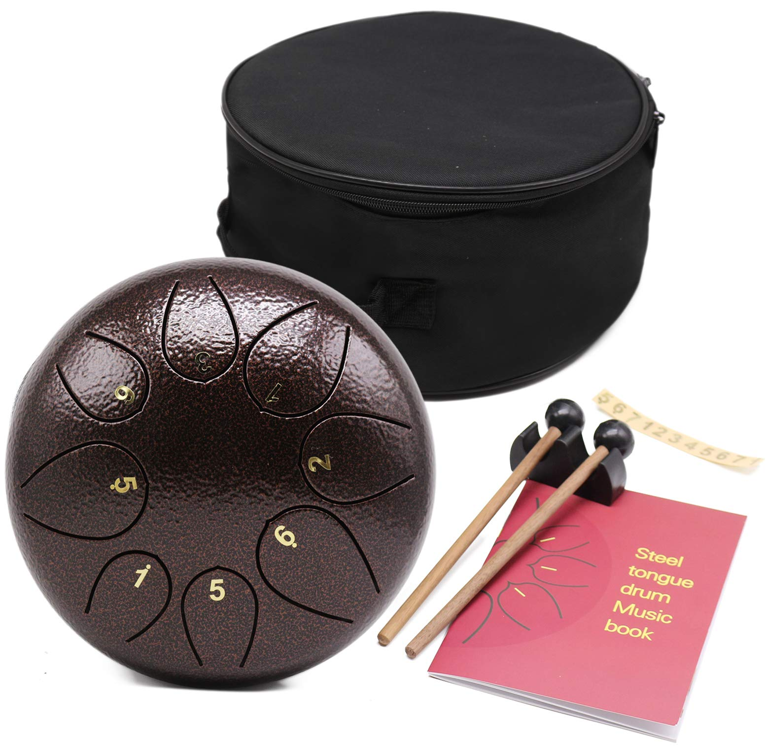 Steel Tongue Drum - 8 Notes 8 inches - Percussion Instrument -Handpan Drum with Bag, Music Book, Mallets, Finger Picks by Lomuty